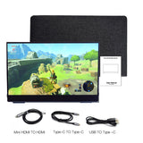 "Portable Monitor 14"" TOUCH SCREEN Monitor, USB Type C HDMI display for PS4 Switch XBOX with Sleeve 1080"