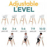 Wooden Baby High Chair for Babies and Toddlers (Adjustable Footrest)