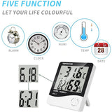 HTC-1 Indoor Digital Humidity Monitor with Alarm Clock (White)