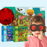 MiDeer 35PCS Children Jigsaw Puzzle. Matching Secret Glasses Cartoon Toy 3-6 Years Gifts