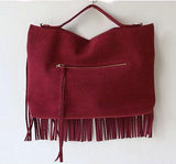 Fringe Leather  Suede Tote Sling Bag