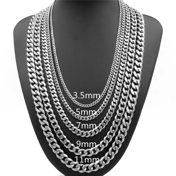 "Massive Mens Silver Colored 316L Stainless Steel Chain, Length 16""-38"""