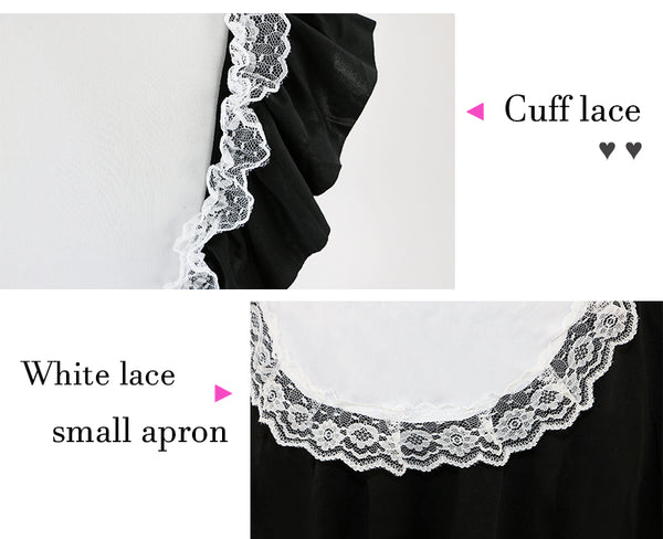 Sexy Maid Cosplay Satin Costume with Black Lace