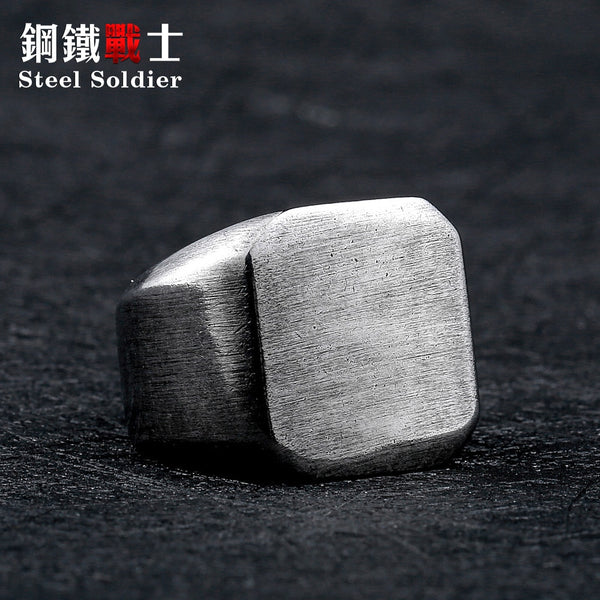 Steel Soldier Simple Vintage Stainless Steel Ring