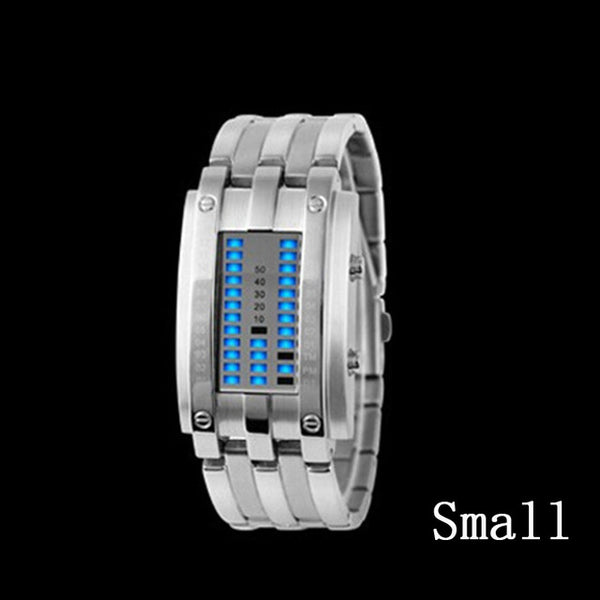 Creative Luxury Steel blue Binary Luminous LED Electronic Smart Watch