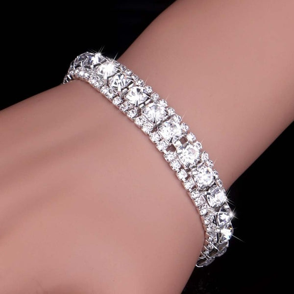 Luxury Crystal Bracelet For Women, Silver Plated with Rhinestones