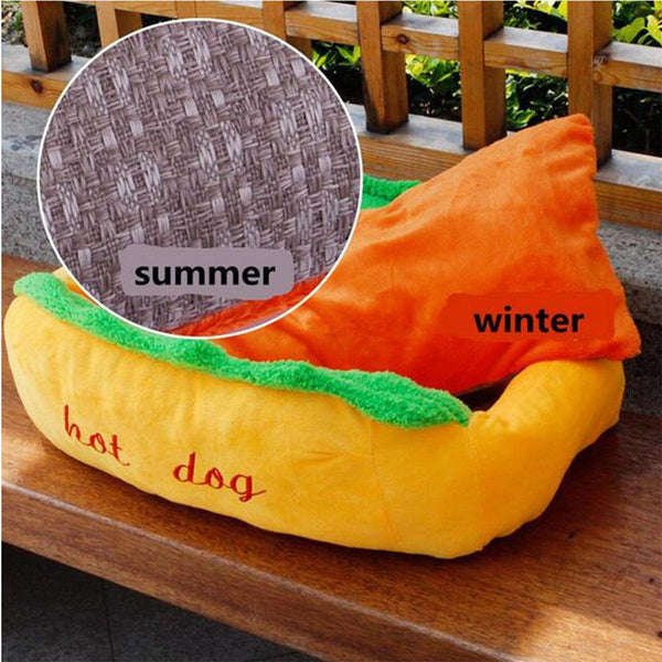 Hot Dog Pet Bed For Cat or Dog With Washable Pad