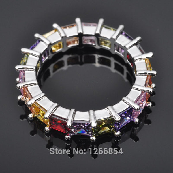 Multicolor Stone Cubic Zirconia Silver Ring For Women