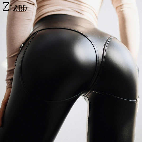 Sexy Push Up Skinny Black PU Leather Leggings for Women
