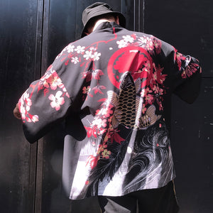 Stylish Japanese 3D Traditional Design Summer Robe Jacket For Men