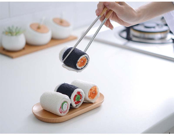3pcs Microfiber Washing Towel Sushi Roll Shape
