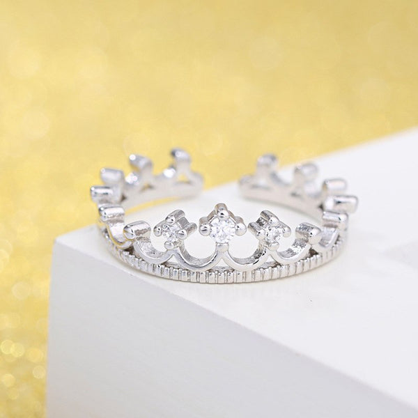 Adjustable Silver plated Princess Crown Ring With Stone Cubic Zirconia