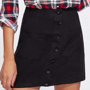 Patch Pocket Front Button Up Skirt