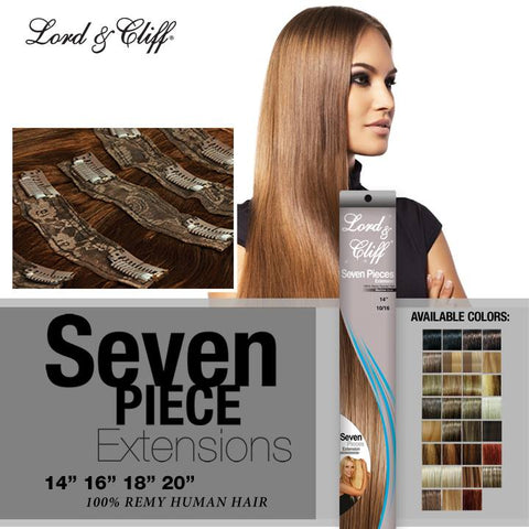 "Lord & Cliff 7 Piece Remy Human Hair Extensions (14"", 16"", 18"", 20"" Lengths)"