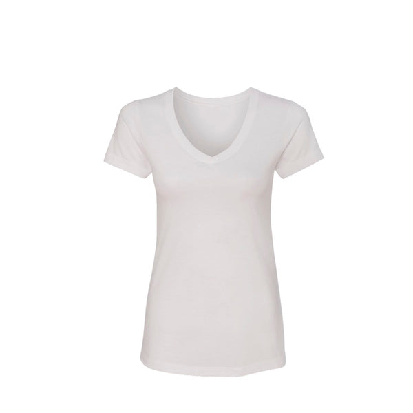 Custom Premium Sueded Women's V Neck Short Sleeve (White) | Custom + Kind