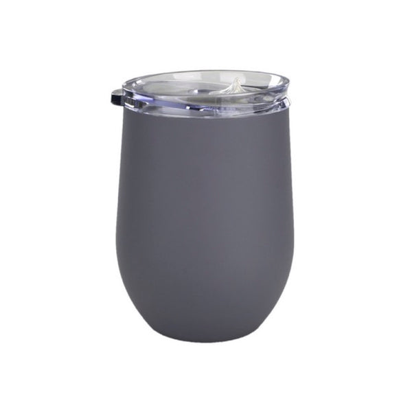 12 oz. Double Wall Stainless Vacuum Wine Tumbler (Grey) | Custom + Kind