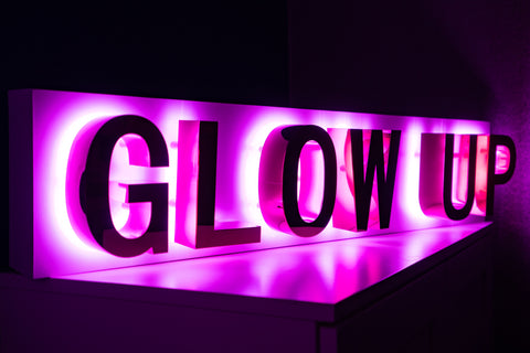 GLOW UP Built up lettering sign with Pink Halo lit High-Shine Gold lettering (Next Day)