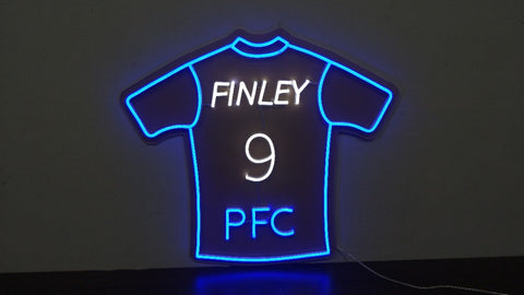 Club Initials, Name and Number Shirt Neon Sign