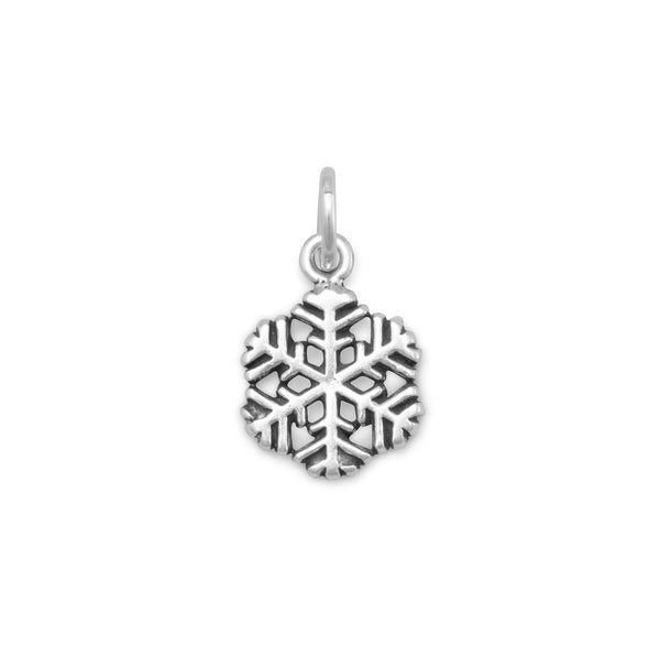 Small Oxidized Snowflake Charm