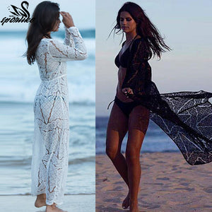 4801cf6c315 Long Crochet Beach Cover up Robe de Plage Swimsuit Cover up Saida de Praia  longa Women Bathing suit cover up Tunics for Beach Long Crochet Beach Cover  up ...