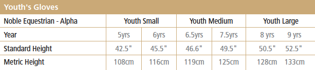Youth Gloves Size Chart