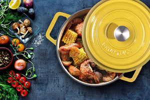 Creamy Shrimp and Corn Pasta Using Bruntmor's Cast Iron Dutch Oven