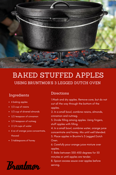 Baked Stuffed Apples Using Burntmor's 3 Legged Dutch Oven