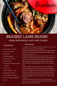 Braised Lamb Shank Using Bruntmor's Cast Iron Tagine