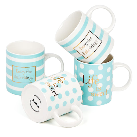 Bruntmor Set Of 4 Ceramic New Bone China Love Inspirational Coffee Mugs 11 Oz. - Bruntmor