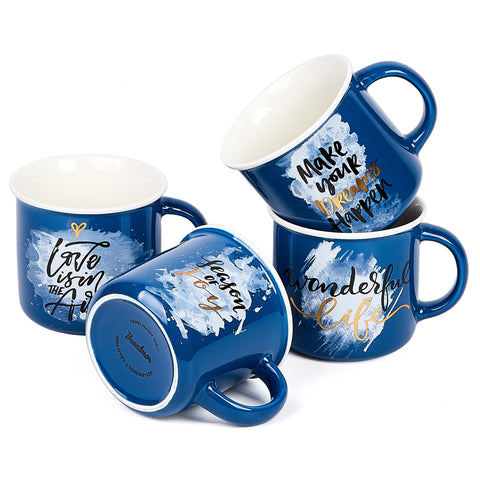 Bruntmor Set of 4 Ceramic Enamel Mugs, Coffee/Tea Mug Set 13 oz, Christmas Gifts - Bruntmor
