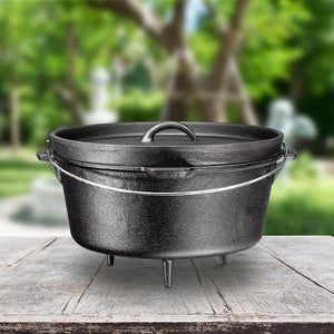 3 Legged Cast Iron Dutch Oven, 8.5-Quart with Metal Handle