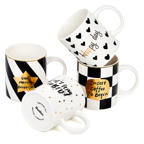 Bruntmor Set Of 4 Ceramic Bone China Romantic Love Inspirational Novelty Coffee/Tea Mug set - Bruntmor