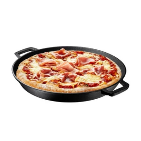 "Pre Seasoned Cast Iron 16"" Durable Frying Pan Pizza Pan - Bruntmor"
