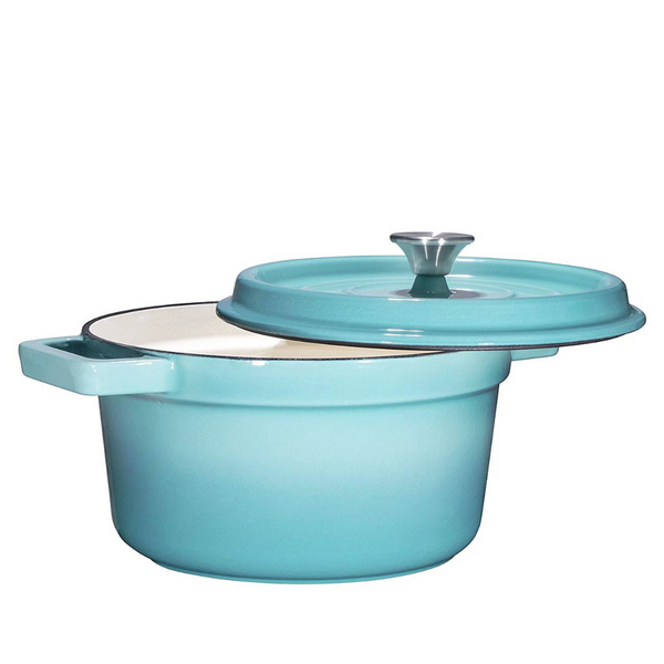 Enameled Cast Iron Dutch Oven, 6.5-Quart, Turquoise - Bruntmor