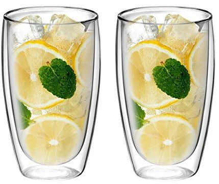 Double Wall Glass No Handle 15 oz, Set of 2 - Bruntmor