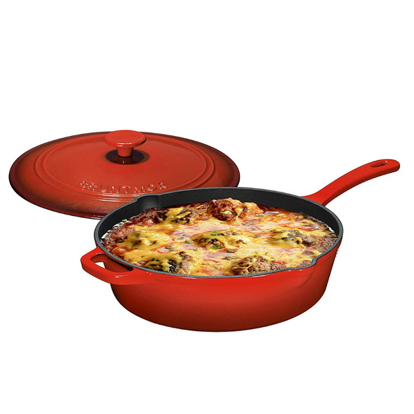 Enameled Cast Iron Skillet Deep Sauté Pan with Lid, 12 Inch, Superior Heat Retention (Fire Red) - Bruntmor