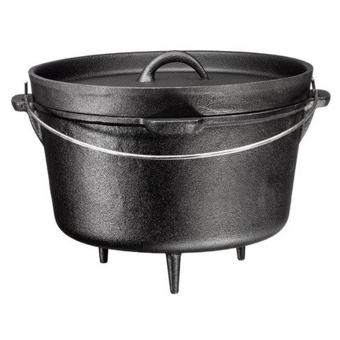 3 Legged Cast Iron Dutch Oven, 8.5-Quart with Metal Handle - Bruntmor