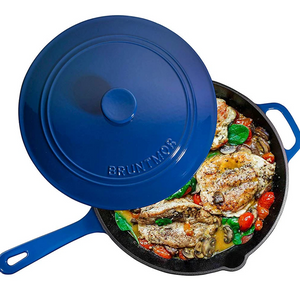 Enameled Cast Iron Skillet Deep Sauté Pan with Lid, 12 Inch, Superior Heat Retention (Duke Blue) - Bruntmor