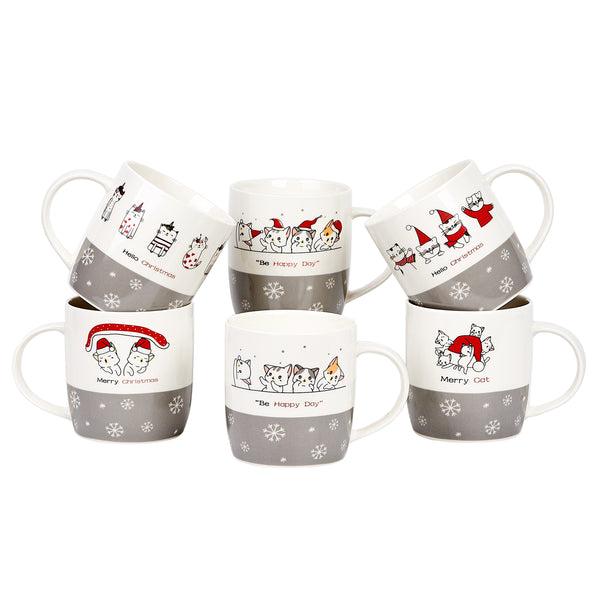 Bruntmor Set of 6 Christmas Cats Ceramic Coffee Mugs 12 Oz - Bruntmor