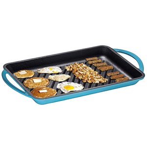 Enameled Cast-Iron Rectangular Grill Pan, Loop Handles, Turquoise - Bruntmor