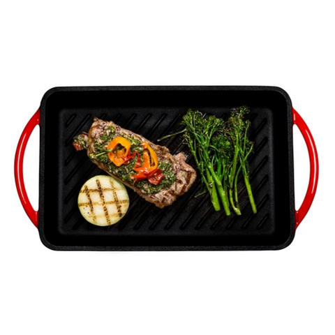 "Enameled Cast-Iron Rectangular Grill Pan, Loop Handles, Fire Red, 9.5"" x 13.5"" - Bruntmor"