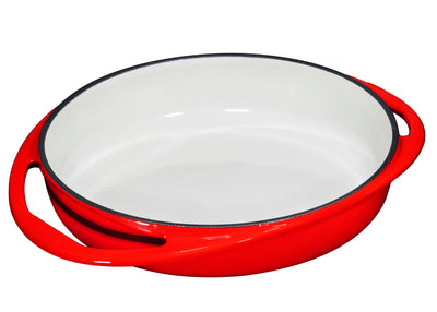 Double Handled Enameled Red Cast Iron Round Tarte Tatin Dish Pan - Bruntmor