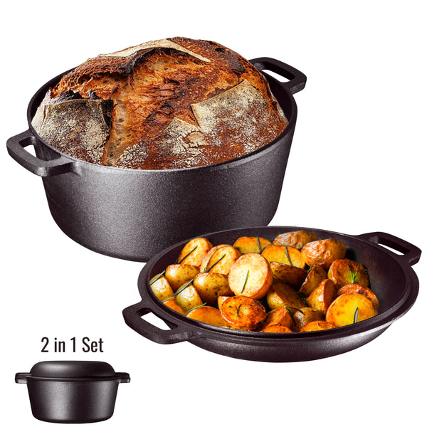 2 in 1 Dual Dutch Oven and Domed Skillet Lid, 5-Quart - Bruntmor