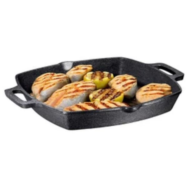13 Inch Square Cast Iron Grill Pan - Bruntmor