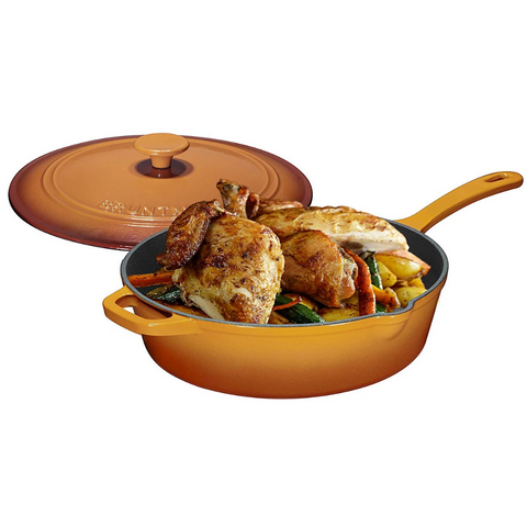 Enameled Cast Iron Skillet Deep Sauté Pan with Lid, 12 Inch, Superior Heat Retention (Pumpkin Spice) - Bruntmor