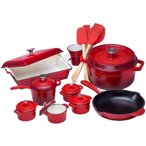 Enameled Cast Iron Set - 21 Pieces - Bruntmor