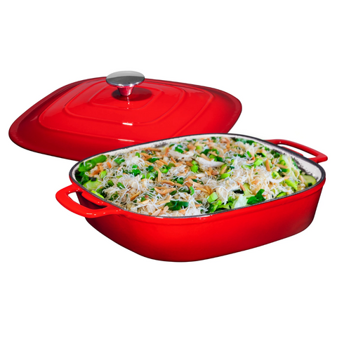 Enameled Cast Iron Casserole Square Braiser - Pan with Cover, 3.8-Quart, Fire Red - Bruntmor