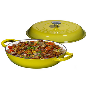 Enameled Cast Iron Casserole Braiser Pan with Cover, 3.8-Quart, Lime Green - Bruntmor