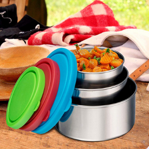 Trio Nesting Stainless Steel Food Containers with Lids, Set of 3 - Bruntmor