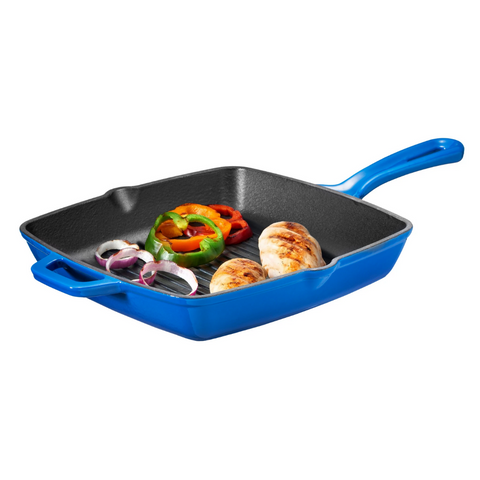 Enameled Cast Iron Square Grill Pan, Cobalt Blue - Bruntmor